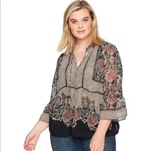 Lucky Brand Mixed Media Sheer Top Womens Plus 3X